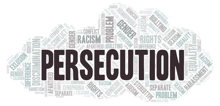 Persecution - type of discrimination - word cloud. Wordcloud made with text only.
