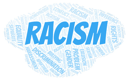 Racism - type of discrimination - word cloud. Wordcloud made with text only.