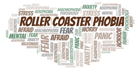 Roller Coaster Phobia word cloud. Wordcloud made with text only.