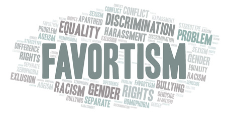Favortism - type of discrimination - word cloud. Wordcloud made with text only. 스톡 콘텐츠