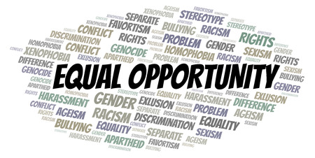 Equal Opportunity - type of discrimination - word cloud. Wordcloud made with text only.