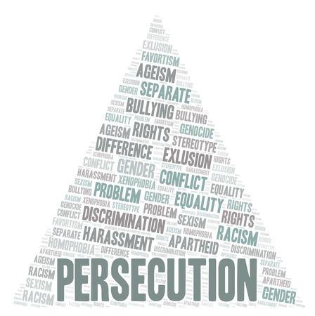 Verfolgung - Art der Diskriminierung - Wortwolke. Wordcloud nur mit Text erstellt.