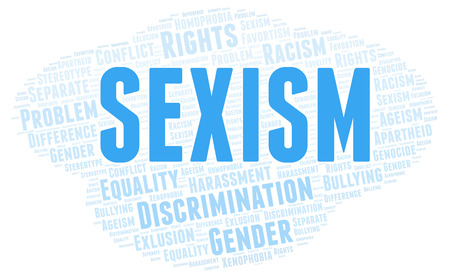 Sexism - type of discrimination - word cloud. Wordcloud made with text only.