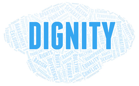 Dignity - type of discrimination - word cloud. Wordcloud made with text only.