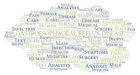 Gastroesophageal Reflux Disease word cloud. Wordcloud made with text only.