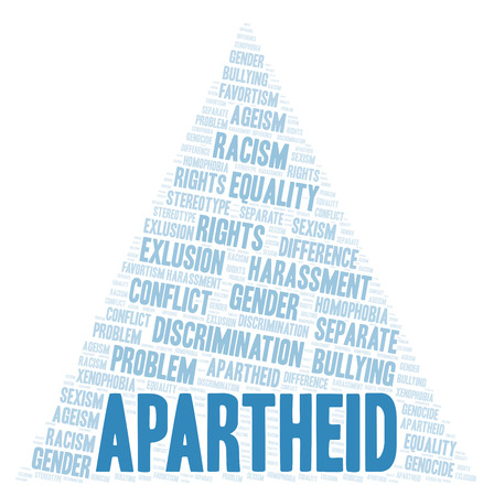 Apartheid - type of discrimination - word cloud. Wordcloud made with text only.