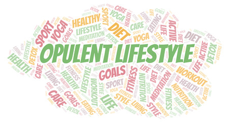 Opulent Lifestyle word cloud. Wordcloud made with text only.