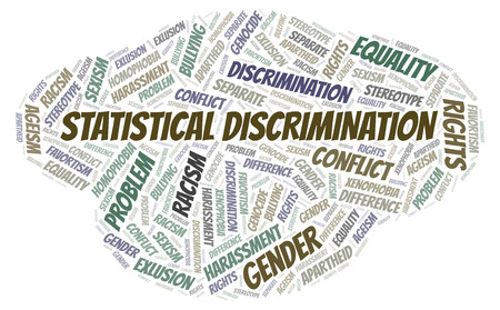 Statistical Discrimination - type of discrimination - word cloud. Wordcloud made with text only.