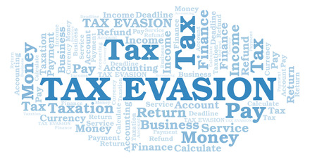 Tax Evasion word cloud. Wordcloud made with text only. Stock Photo