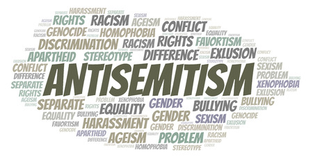 Antisemitism - type of discrimination - word cloud. Wordcloud made with text only.