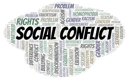 Social Conflict - type of discrimination - word cloud. Wordcloud made with text only. 스톡 콘텐츠