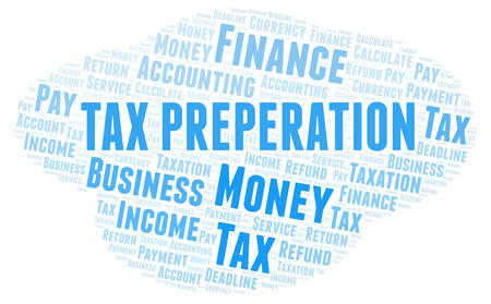 Tax Preperation word cloud. Wordcloud made with text only. Reklamní fotografie
