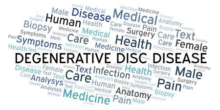 Degenerative Disc Disease word cloud. Wordcloud made with text only. Stock Photo