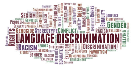 Language Discrimination - type of discrimination - word cloud. Wordcloud made with text only. Stockfoto