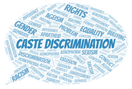 Caste Discrimination - type of discrimination - word cloud. Wordcloud made with text only.