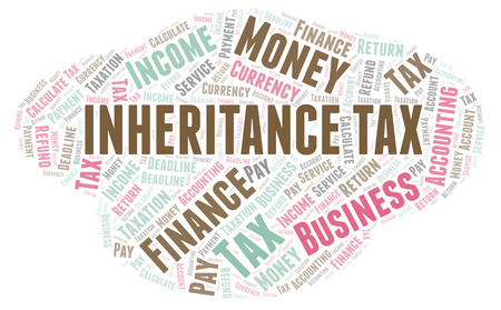 Inheritance Tax word cloud. Wordcloud made with text only. Stock fotó