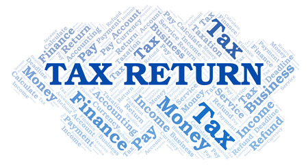 Tax Return word cloud. Wordcloud made with text only.