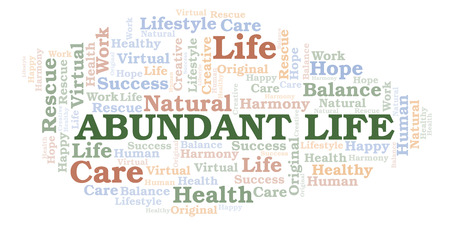 Abundant Life word cloud. Wordcloud made with text only. Banco de Imagens - 119210434