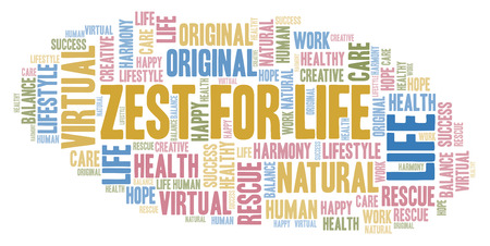 Zest For Life word cloud. Wordcloud made with text only.