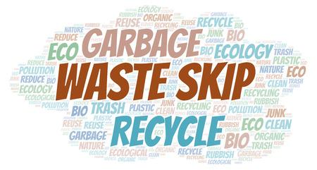 Nube de word de salto de residuos. Wordcloud hecho solo con texto.