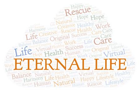 Ewiges Leben Wortwolke. Wordcloud nur mit Text erstellt.