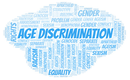 Age Discrimination - type of discrimination - word cloud. Wordcloud made with text only.