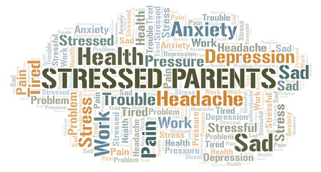 Stressed Parents word cloud. Wordcloud made with text only.