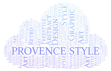 Provence Style word cloud. Wordcloud made with text only. 스톡 콘텐츠