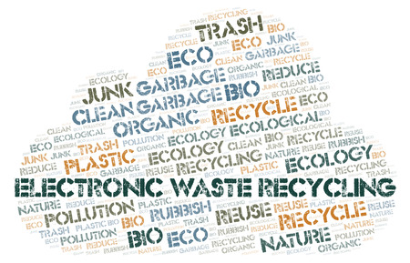 Electronic Waste Recycling word cloud. Wordcloud made with text only. Stock fotó