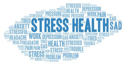 Nube de word de estrés salud. Wordcloud hecho solo con texto.