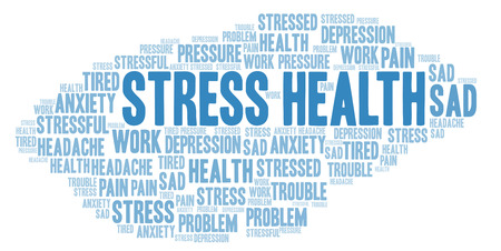 Stress gezondheid word cloud. Wordcloud gemaakt met alleen tekst.