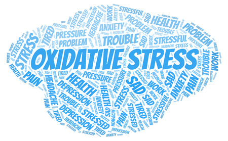 Oxidative Stress word cloud. Wordcloud made with text only. Ilustração