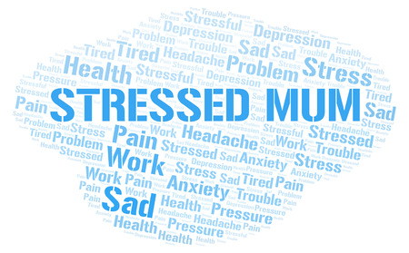 Stressed Mum word cloud. Wordcloud made with text only.