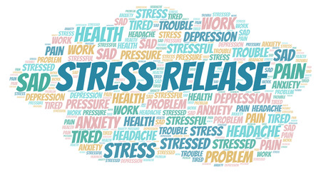 Stress Release word cloud. Wordcloud made with text only. Stok Fotoğraf