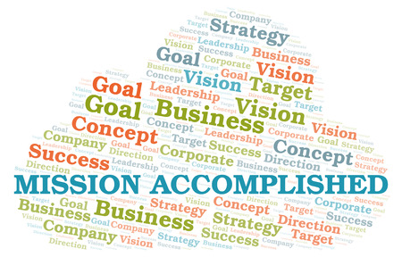 Mission Accomplished word cloud. Wordcloud made with text only.