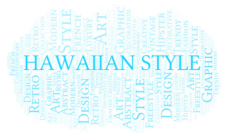Hawaiian Style word cloud. Wordcloud made with text only. Stock Photo
