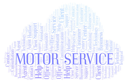 Motor Service word cloud. Wordcloud made with text only. Stock Photo