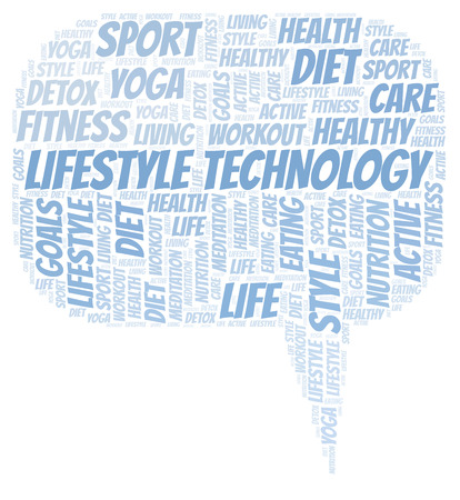 Lifestyle Technology word cloud. Wordcloud made with text only. Stock Photo