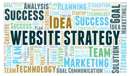 Website Strategy word cloud. Wordcloud made with text only.