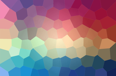 Abstract illustration of blue, red and yellow colorful big hexagon background