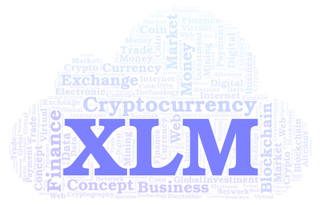 XLM or Stellar cryptocurrency coin word cloud. Word cloud made with text only.