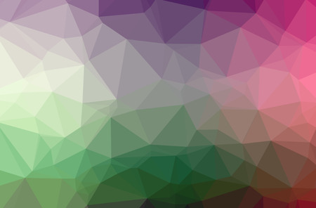 Illustration of abstract Green, Pink, Red horizontal low poly background. Beautiful polygon design pattern. Useful for your needs.