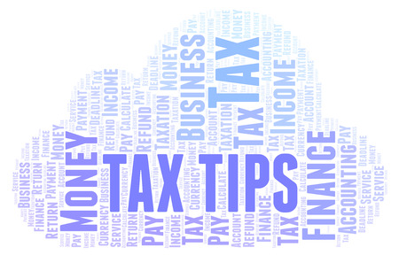 Tax Tips word cloud. Wordcloud made with text only.