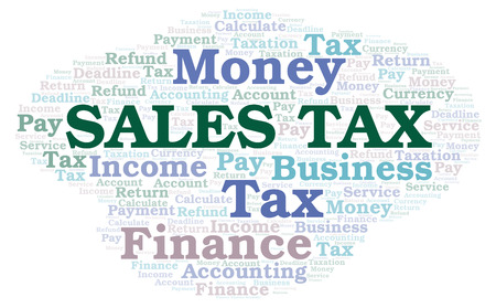 Sales Tax word cloud. Wordcloud made with text only.