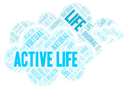 Active Life word cloud. Wordcloud made with text only. Stock Photo
