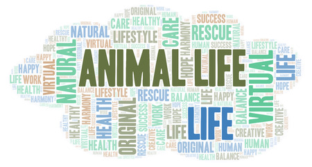 Animal Life word cloud. Wordcloud made with text only. Stock Photo