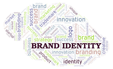 Brand Identity word cloud. Wordcloud made with text only. Stock Photo