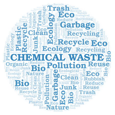 Chemical Waste word cloud. Wordcloud made with text only. Stock Photo