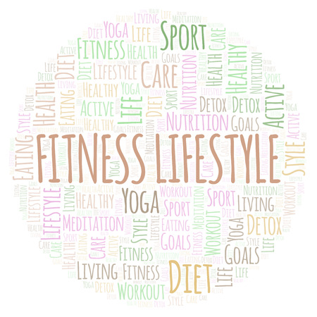 Fitness Lifestyle word cloud. Wordcloud made with text only.