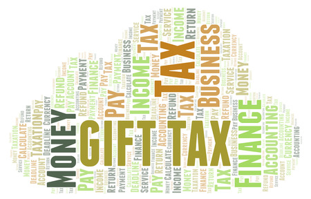 Gift Tax word cloud. Wordcloud made with text only. Stock Photo